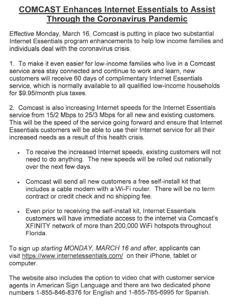 Comcast Enhances Internet Essentials To Assist Through The Coronavirus Pandemic Campbell Drive K 8 Center