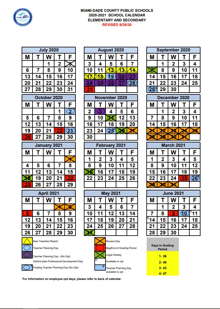 2020 2021 School Calendar | Campbell Drive K 8 Center